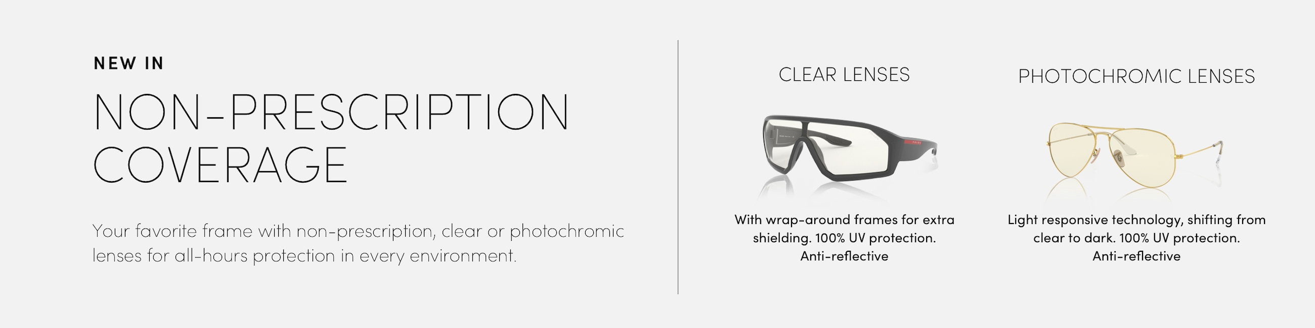 Non prescription coverage. Clear and Photochromic lenses.