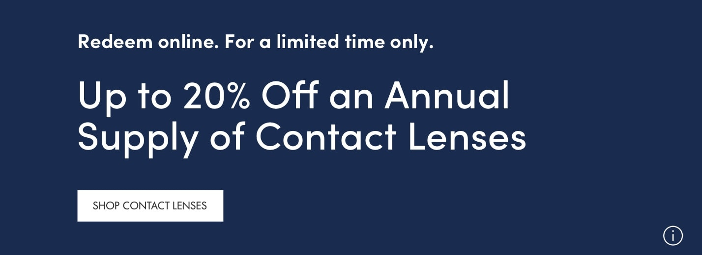 up to 20% off contact lenses.