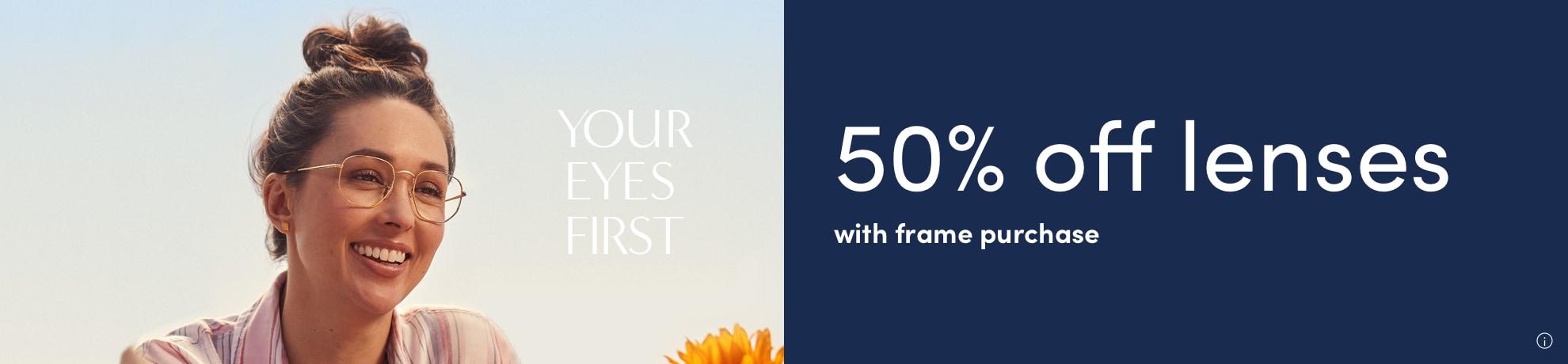 50% off lenses banner